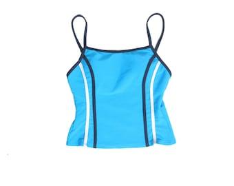 90s Tropical Tankini - 90s Swimwear - 90s Activewear - Bikini Top - Grunge - Tankini - Blue Sporty Stripe Cropped Tank - Crop top - Tank Top
