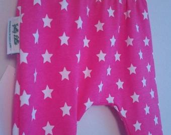Pink Star leggings with Yellow Star waistband. Newborn - 3 Years