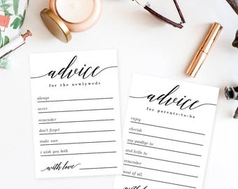 bridal shower advice cards template - marriage advice card etsy