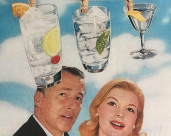 1960 Fleischmann's Dry Gin ad, fun alcohol ephemera.