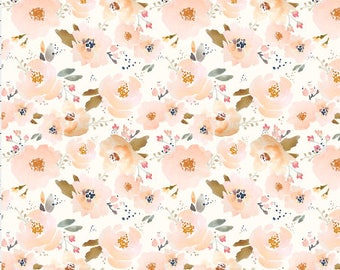 Peach Floral Fabric by the Yard Cotton Quilting Fabric Nursery Fabric Organic Cotton Knit Minky Cotton Fabric Flowers 5184036