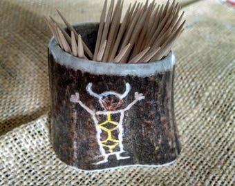 "Elk Antler toothpick holder, with an original carving/painting (Medicine Man Indian figure) about 2-1/4"" high (opening  1-3/4"") antler art"