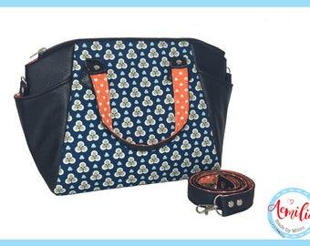 Annette handbag, geometrisch, blauw, donkerblauw, navy, spring, handmade, swoon, oranje, hartjes