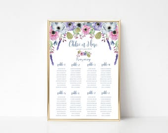Floral Wedding seating chart - Flowers table seating plan - Wedding seating chart poster - A2 size - Floral seating chart - Floral Wedding