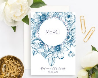 Floral Wedding Thank You Card with white envelope - Wedding Thank You Card - Vintage Wedding - Floral Wedding - Floral Engraving - Botanical
