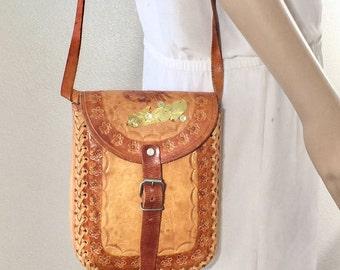 Tooled Leather Purse, Bag, Brown Leather, Shoulder Bag,bOHO BAG