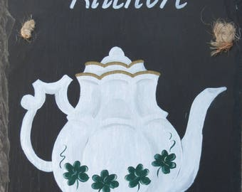 "Hand Painted Irish Teapot... ""TIS HERSELF'S KITCHEN"""