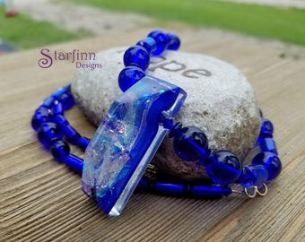 Cobalt Glass Bead Necklace, Lampwork Glass Pendant, Beaded Necklaces, Glass Necklace, Blue Glass Beads