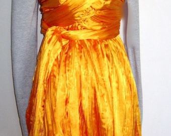 Sunshine yellow pleated polyester sarong dress