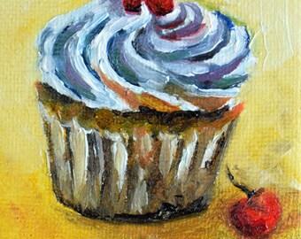 Original Miniature Painting, Impressionist Vanilla Cupcake, Nursery Art, Cute Painting 2.5x2.5 Inch