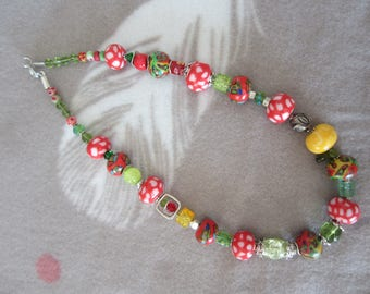 Red/green/yellow polymer clay necklace