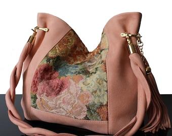 Bucket leather bag, Powder suede bucket, Powder bag, Tapestry bag, bucket tapestry bag, Powder  bucket bag, luxury bucket