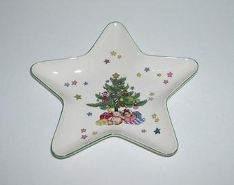 Vintage Nikko Happy Holidays Christmas Star Shape Trinket Candy Dish