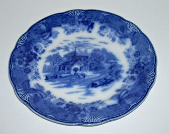 Antique Flow Blue Country Scenes Plate Church Scene
