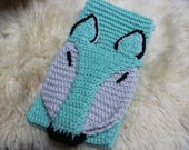Foxy Whimsical Crocheted Scarf in Aqua Mint and Grey