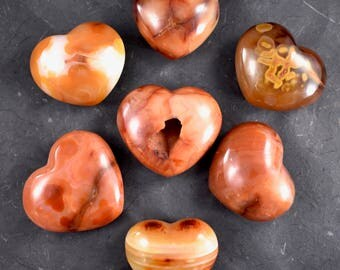 Carnelian Hearts // Polished Carnelian // Crystal Heart // Metaphysical Stone // Madagascar Mineral // Village Silversmith