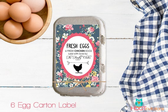 Egg carton labels gift for her egg sticker floral style for Egg carton labels template