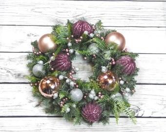 Victorian Christmas Wreath, Wreath For Winter, Winter Wreath, Winter Door Wreath, Pink Holiday Wreath, Mantle Wreath, Pink Christmas Wreath