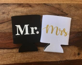 Mr. and Mrs. Can Cooler Set / Wedding Can Coolers / Honeymoon Can Coolers