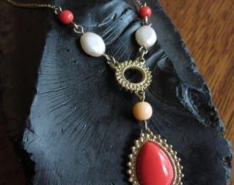"Vintage Avon NRT Orange Faux Jewel Necklace, 17"" Gold Tone Chain, Orange Pendant, Beads, Pearls, Avon Fashion Jewelry, Boho, Hippie, Summer"