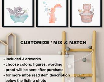 Watercolor animals kids bathroom set, Woodland kids bath art, Raccoon owl bunny kids bathroom decor, Wash Brush Flush Print/Canvas/Digital