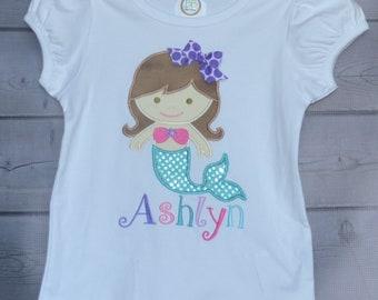 Personalized Mermaid Applique Shirt or Onesie Girl