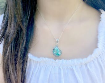 Green Chalcedony Necklace Green Gemstone Necklace Crystal Necklace African Pendant Agate Necklace Botswana Agate 925 Sterling Silver Boho