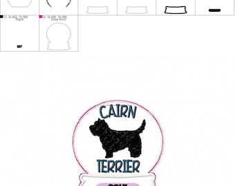 2017 Cairn Terrier - Snow Globe - Ornament -  In The Hoop - DIGITAL Embroidery DESIGN