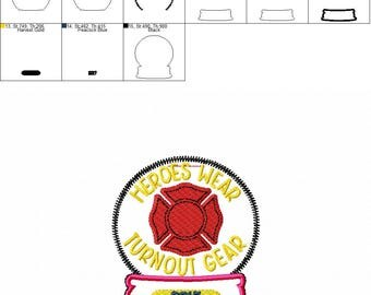 2017 Firefighter - Heroes Wear Turnout Gear - Christmas - Snow Globe - Ornament -  In The Hoop - DIGITAL Embroidery DESIGN