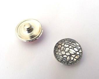 Snap resin 18mm silver/black Crackle effect