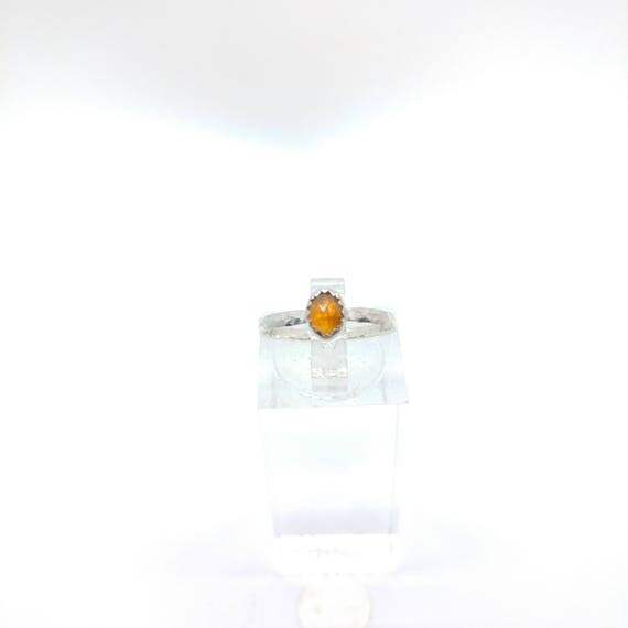 Rose Cut Orange Sapphire Ring | Sterling Silver Ring Sz 5.75 | Rose Cut Sapphire Ring | Simple Stone Ring | September Birthstone Ring