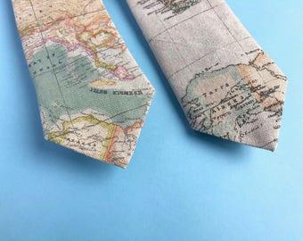 World map tie, map necktie, cartography, wedding tie, groomsman tie, valentine's day gift, gifts for him, quirky tie, cravat