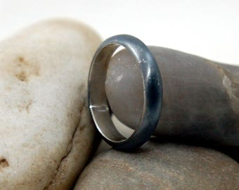 Black Rhodium Plated Silver Wedding Ring for Women. Sterling Silver Classic Wedding Band Ring. Black Wedding Rings his and hers