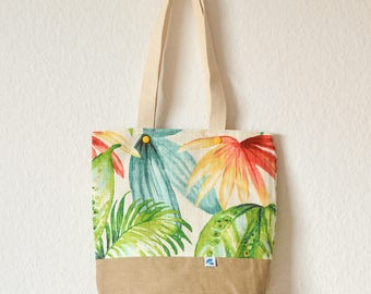 Tropical palm leaf print Tote Bag, tropical leaf Tote, floral bag, Handmade floral  tote bag with pocket, unique gifts for wife birthday