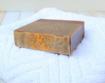 Cedar Goat Milk Soap -- Homemade Men's Soap -- Cedar and Saffron Cold Process Soap -- Men's Goat Milk Soap -- Cedar Artisan Soap for Men