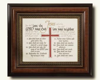 The Ten Commandments NKJV (Exodus 20) - Hand Lettered Calligraphy Print - Wall Art - Scripture - Christian décor