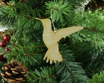 Hummingbird Ornament in Wood or Mirror Acrylic Customizable with Name - Design 3