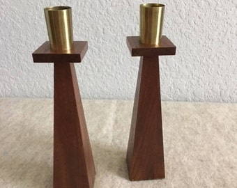 Vintage,Mission Style,Wood Candlesticks,Handmade,1930's,Maple Wood,Candle