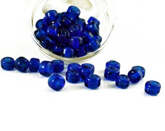 Blue glass beads 9x11mm, semi transparent slider beads, dark blue rondell beads, tube spacer beads, 3mm hole, Jewelry Supplies, 10 pieces