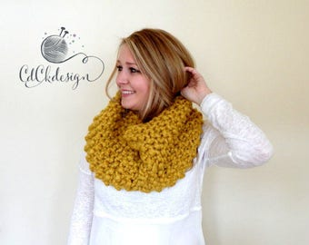 Chunky Knit Scarf - Mustard Knit Cowl - Chunky Cowl - Infinity Scarf - Circle Scarf - Mustard Color Ribbed Design Wool  Blend