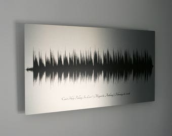 10 Year Anniversary Gifts, Tin Anniversary Gift for Husband, 10th Anniversary, Wedding Song Sound Wave Art, for Men, Aluminum Metal Print