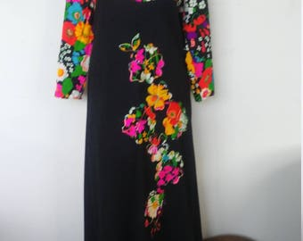 Vintgage Floral and Black Maxi Dress