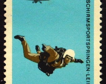 Parachute, Sports, Germany -Handmade Framed Postage Stamp Art 22509AM