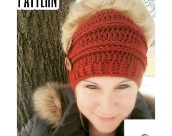 Crochet Pattern Messy Bun Beanie | Crochet Pattern Bun Hat | Top Knot Beanie Crochet Pattern | Crochet Pattern Top Knot Hat | PDF Download
