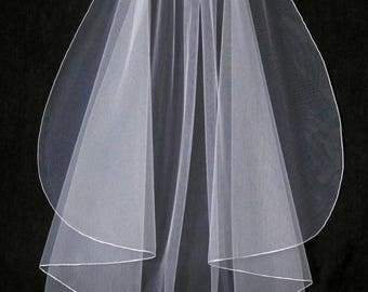 Angel Cut Fingertip Wedding Veil with Matching Color, Gold or Rose Gold Embroidery Pencil Edge