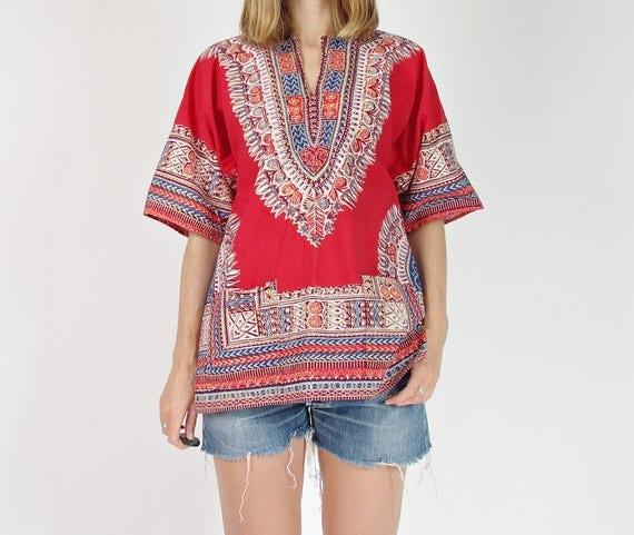 Vintage African ethnic red dashiki shirt / size S-M-L