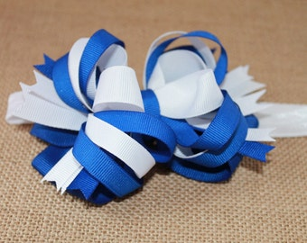 Big Loopy Bow, Blue and White Loopy Bow Headband/Blue bow Headband/Elastic Headband/Three to Six Months/Baby Headband/White Elastic Headband