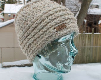 Messy Bun Beanie - Crocheted Hat in WHEAT