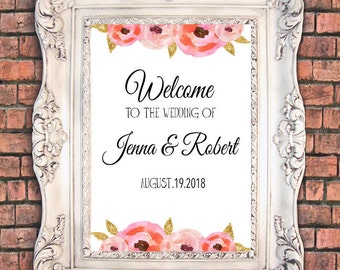 Flowery Wedding welcome sign 20x30 inch on white