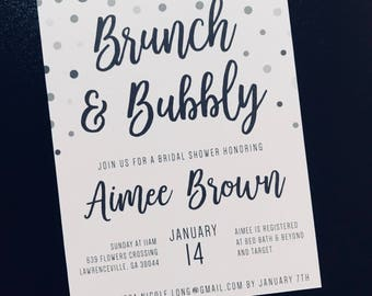 Brunch and Bubbly! Bridal Shower Invitations and Envelopes- Custom